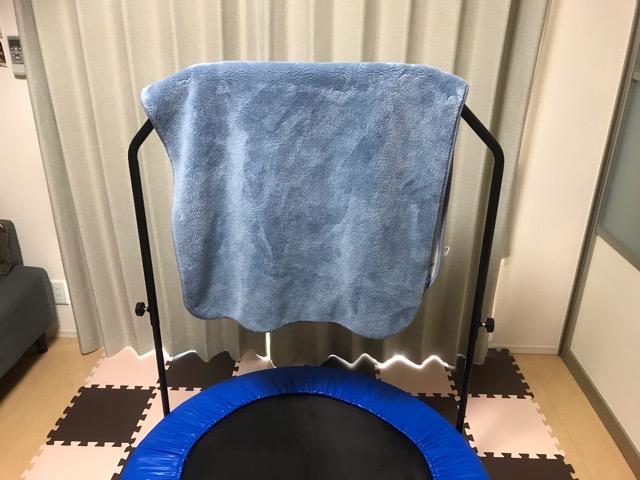 トランポリンに洗濯物
